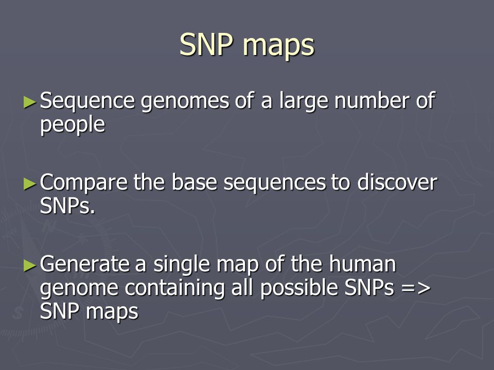 SNP maps Sequence genomes of a large number of people