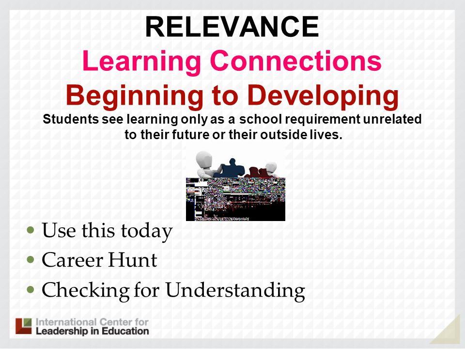 RELEVANCE Learning Connections Beginning to Developing Students see learning only as a school requirement unrelated to their future or their outside lives. .