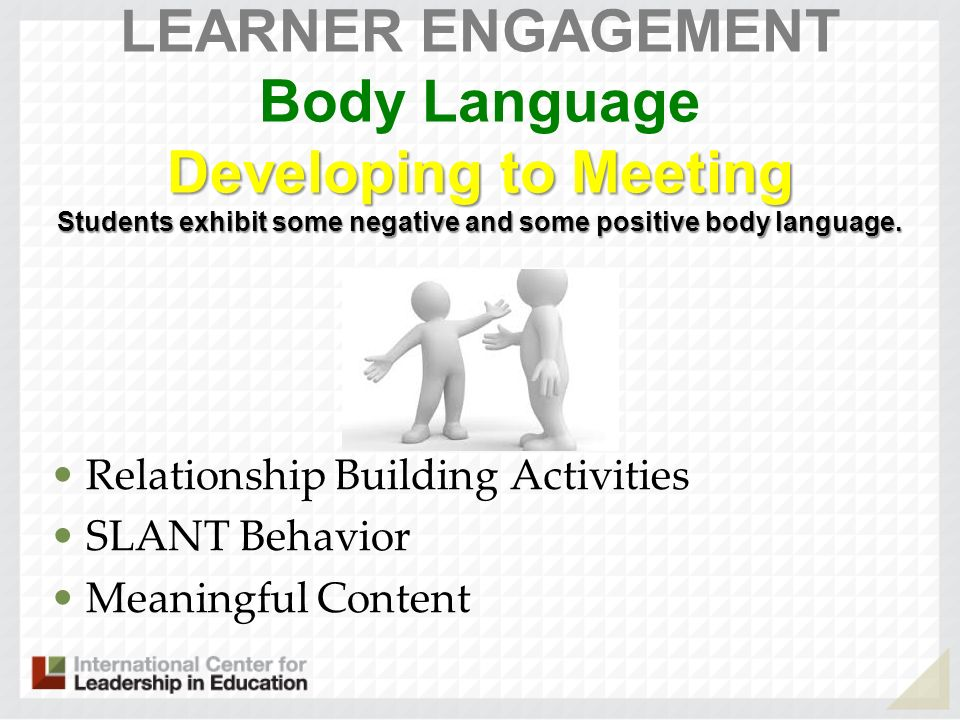 LEARNER ENGAGEMENT Body Language Developing to Meeting Students exhibit some negative and some positive body language.