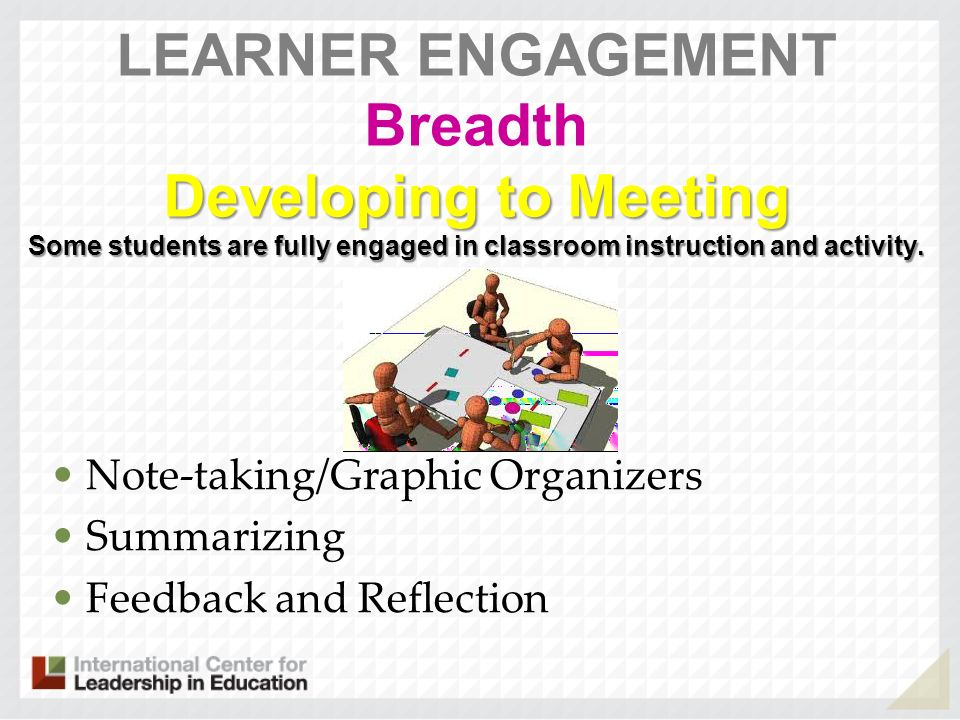 LEARNER ENGAGEMENT Breadth Developing to Meeting Some students are fully engaged in classroom instruction and activity.