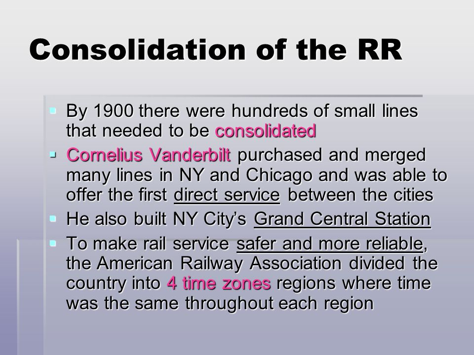 Consolidation of the RR