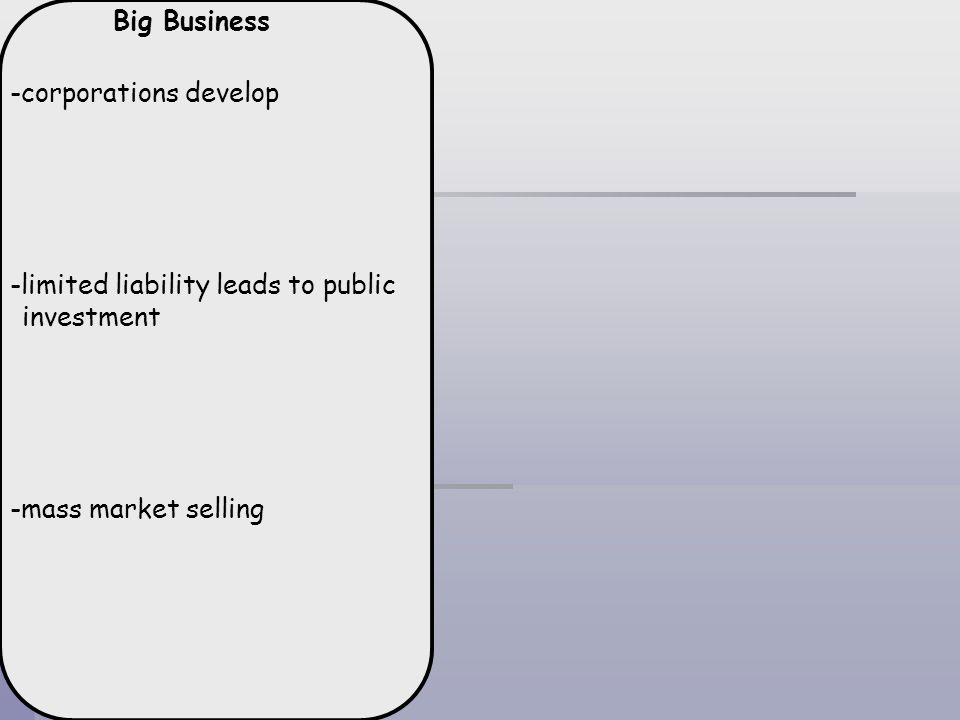 Big Business -corporations develop. -limited liability leads to public investment.