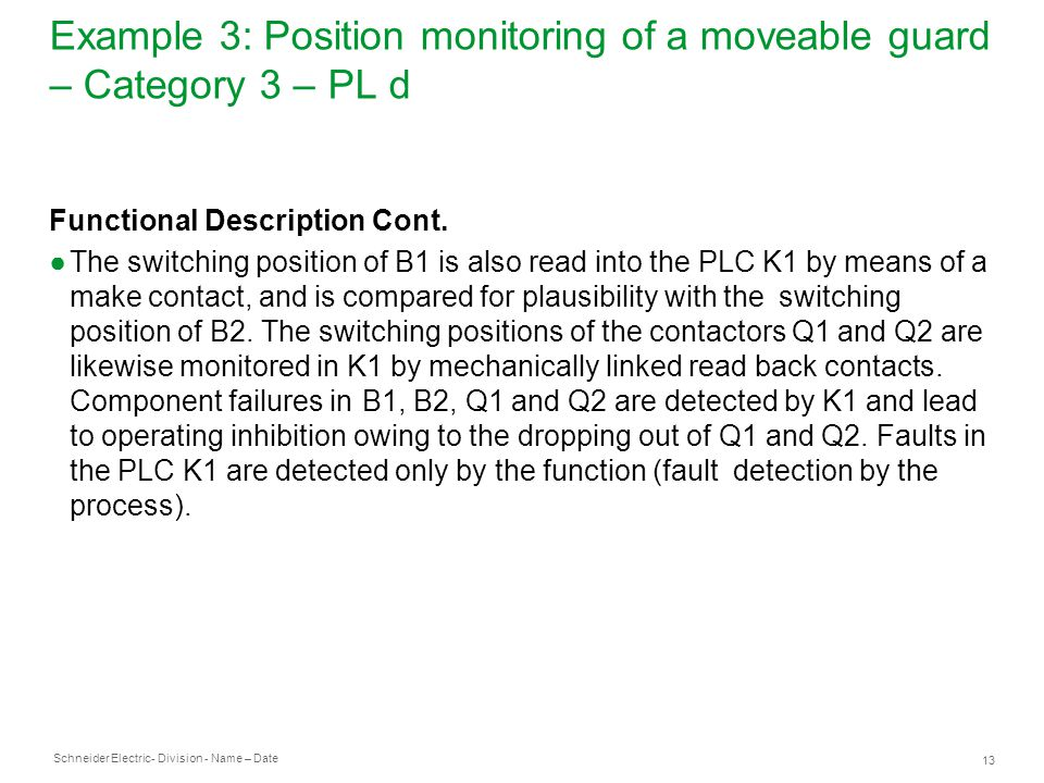 Example 3: Position monitoring of a moveable guard – Category 3 – PL d