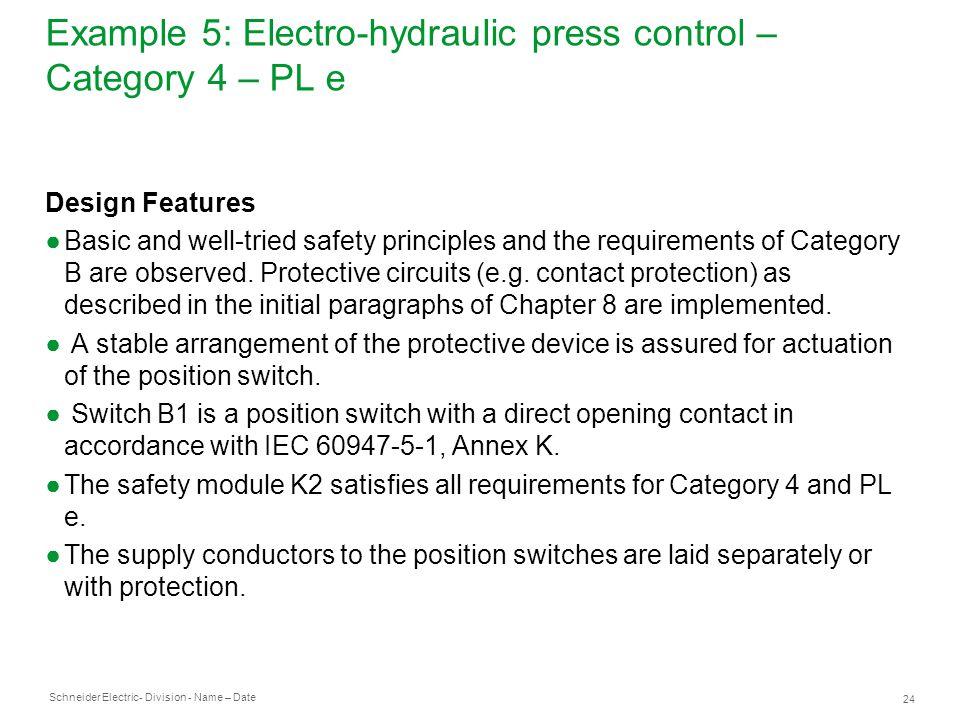 Example 5: Electro-hydraulic press control – Category 4 – PL e
