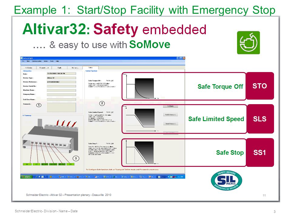 Example 1: Start/Stop Facility with Emergency Stop Device