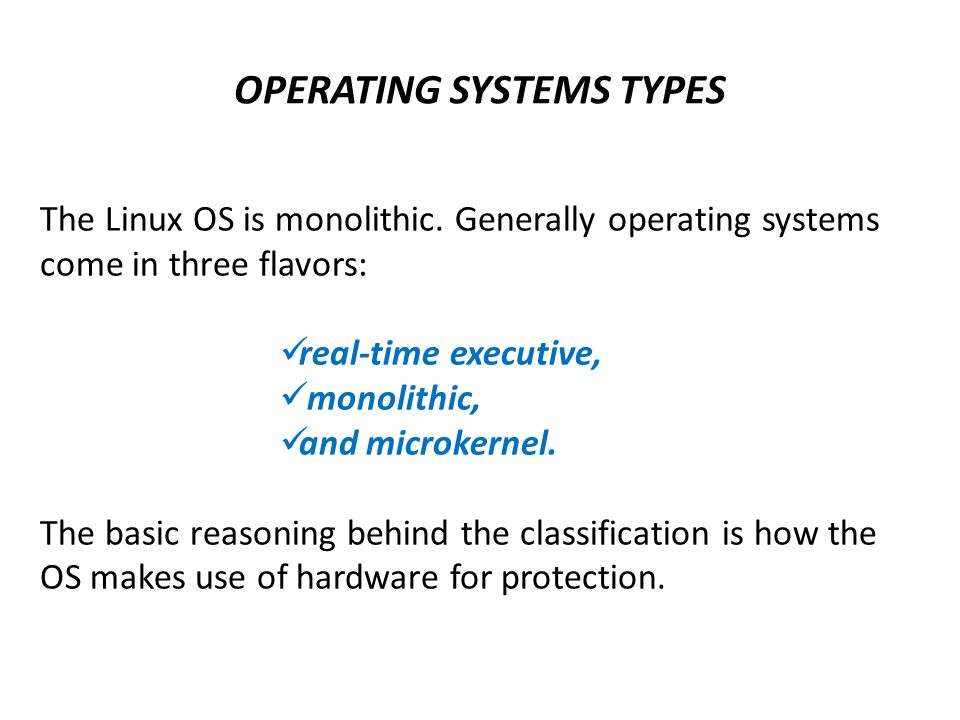 OPERATING SYSTEMS TYPES