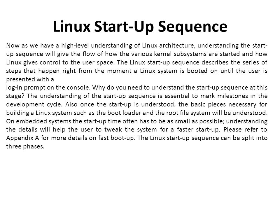 Linux Start-Up Sequence