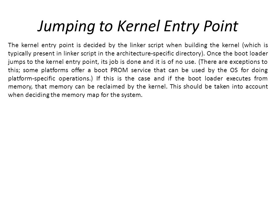 Jumping to Kernel Entry Point