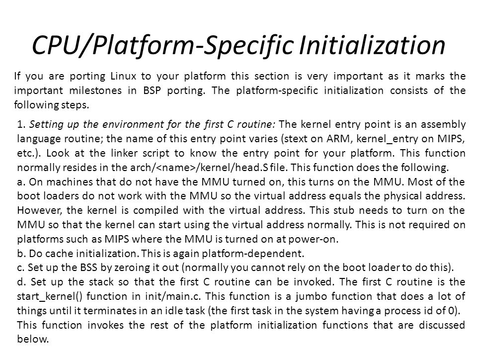 CPU/Platform-Specific Initialization