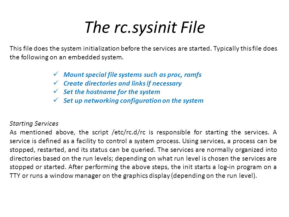 The rc.sysinit File
