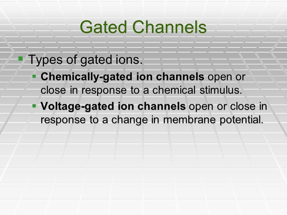 Gated Channels Types of gated ions.