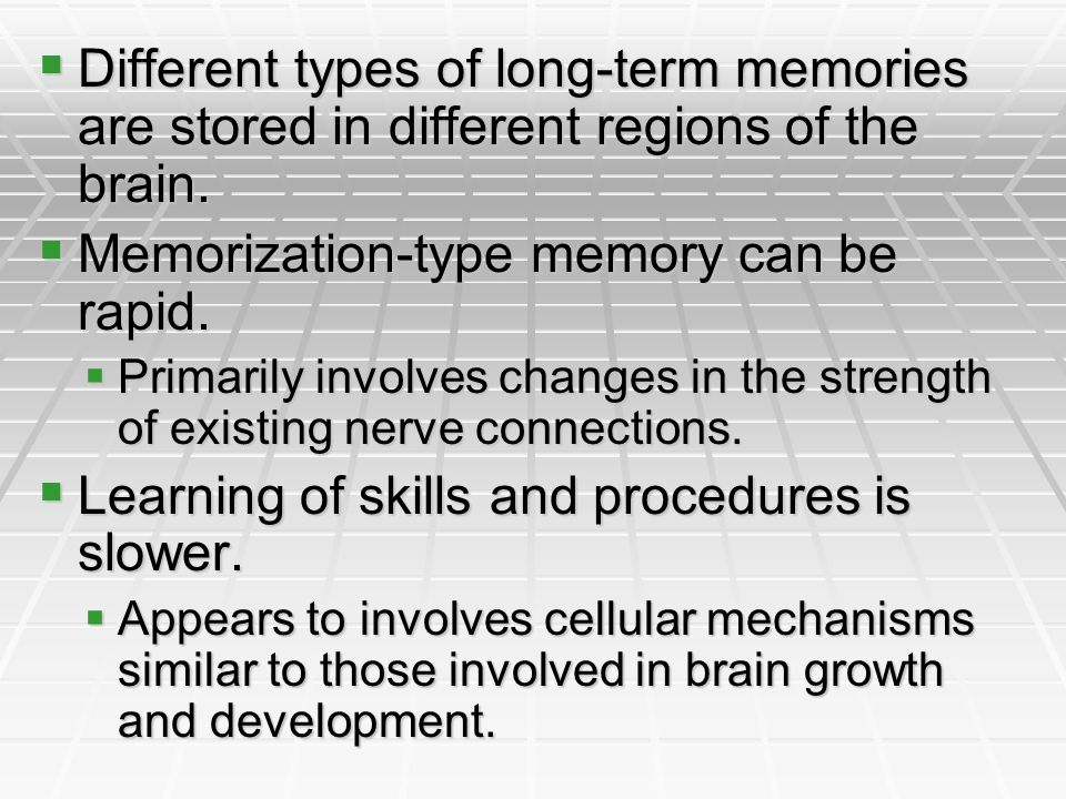 Memorization-type memory can be rapid.
