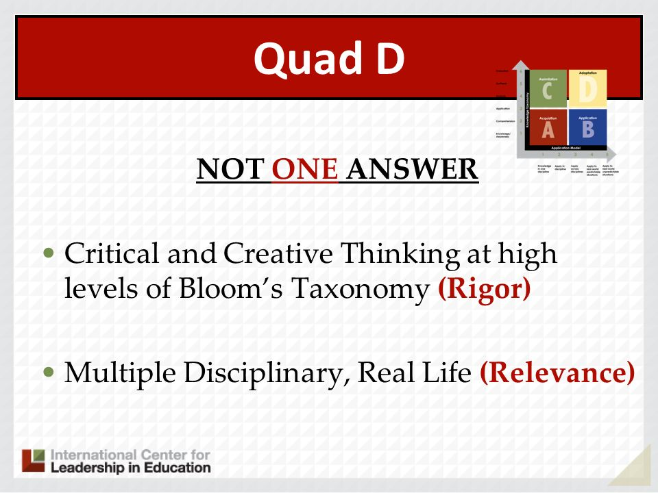 Quad D NOT ONE ANSWER.