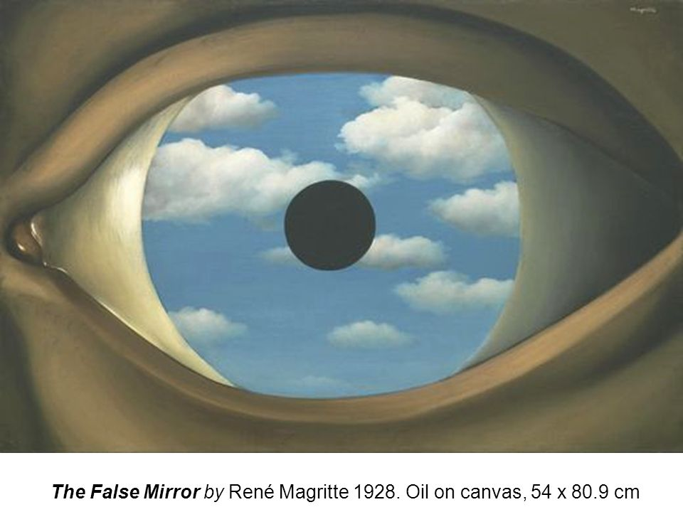 The False Mirror by René Magritte 1928. Oil on canvas, 54 x 80.9 cm