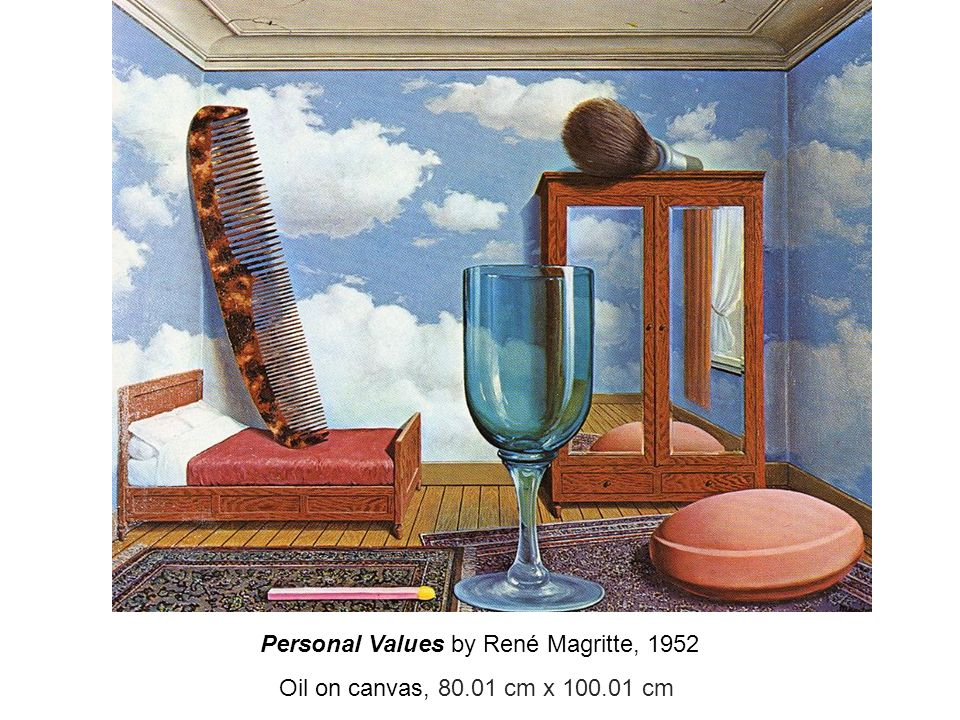 Personal Values by René Magritte, 1952