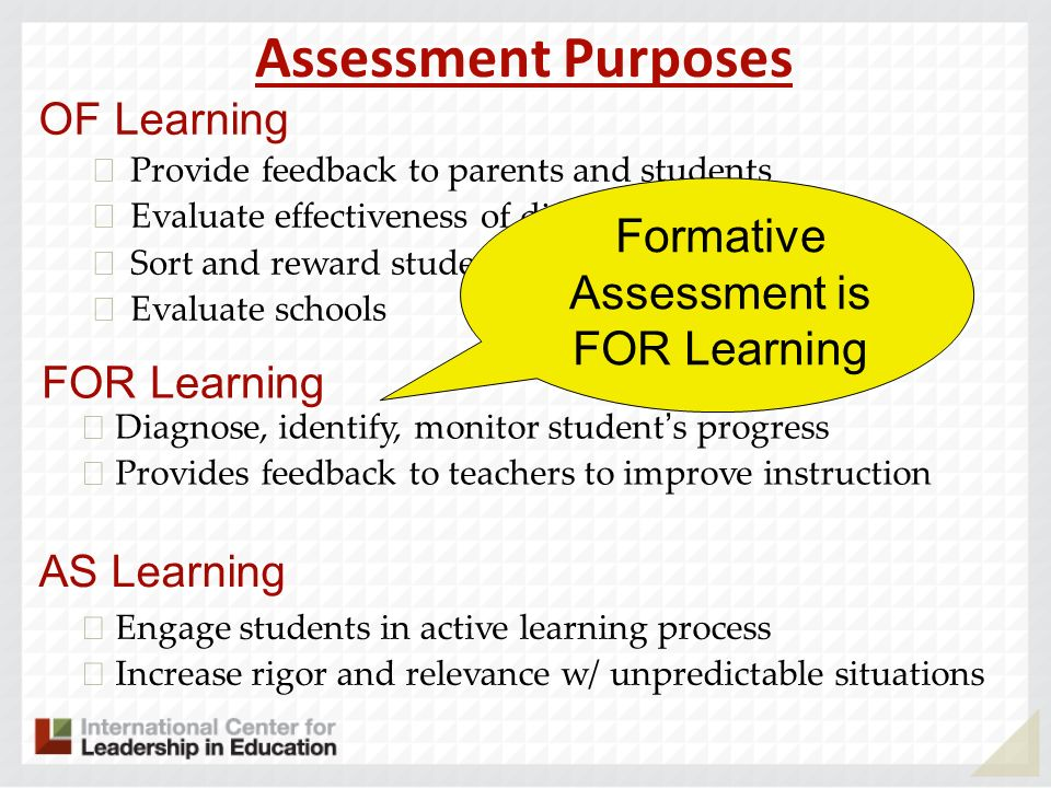 Formative Assessment is FOR Learning