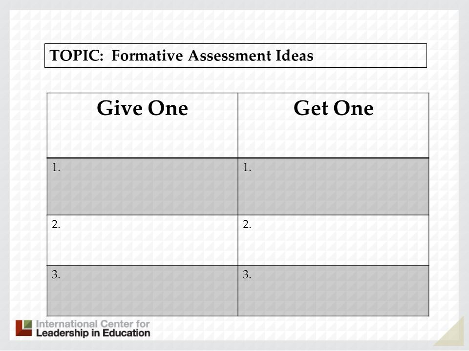 TOPIC: Formative Assessment Ideas