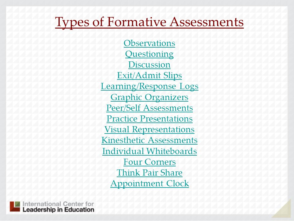 Types of Formative Assessments