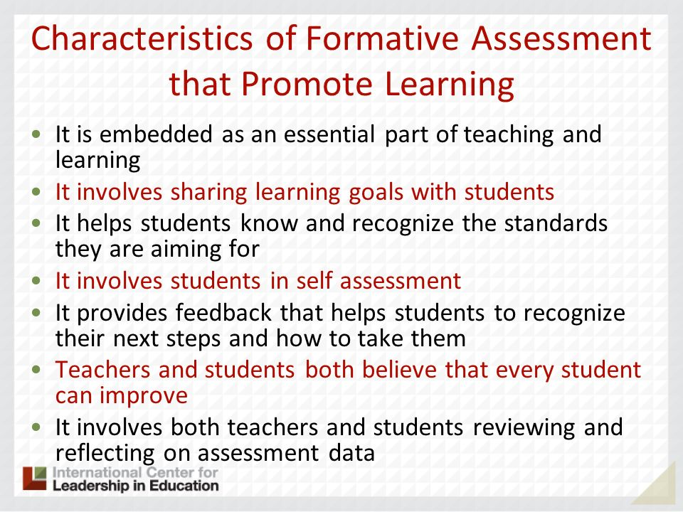 Characteristics of Formative Assessment that Promote Learning