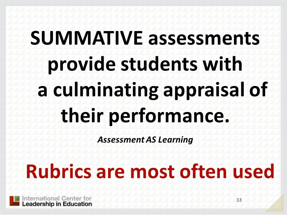 Assessment AS Learning Rubrics are most often used