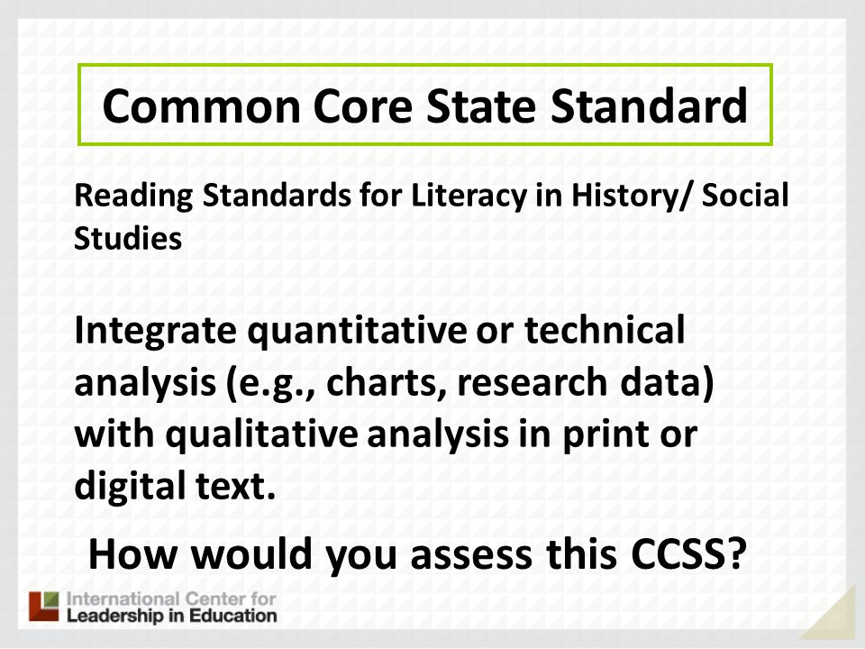 Common Core State Standard How would you assess this CCSS