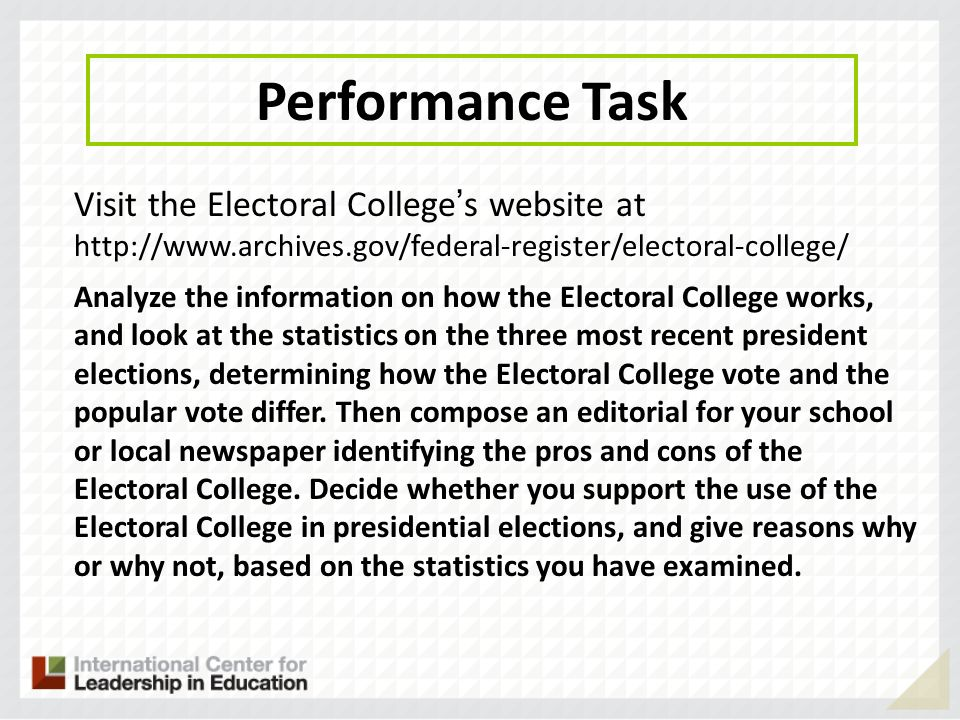 Performance Task Visit the Electoral College's website at http://www.archives.gov/federal-register/electoral-college/