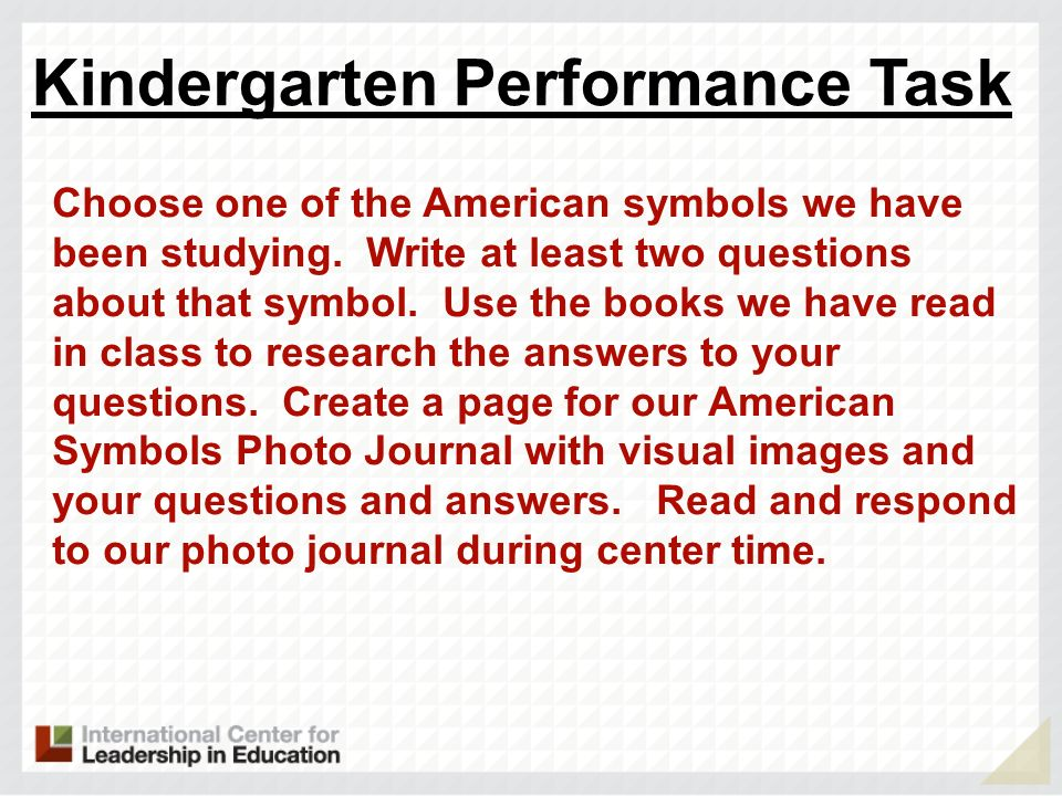 Kindergarten Performance Task