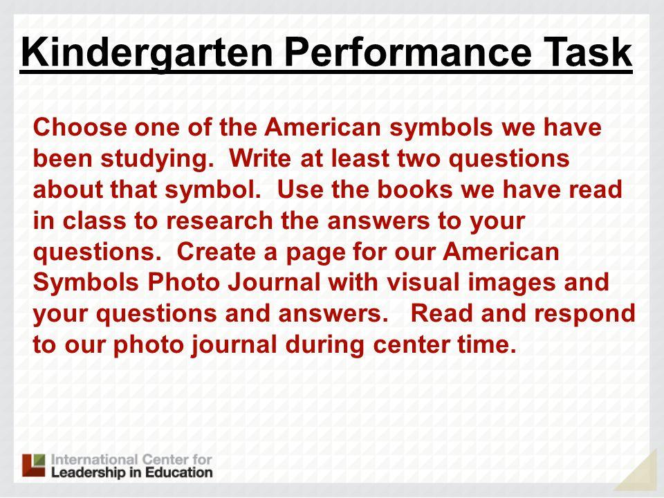 Kindergarten Performance Task