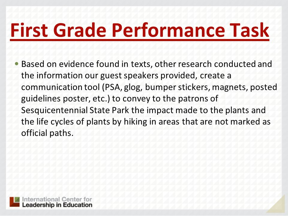 First Grade Performance Task