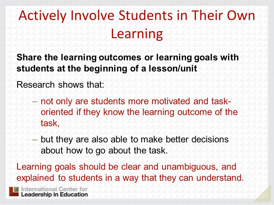 Actively Involve Students in Their Own Learning