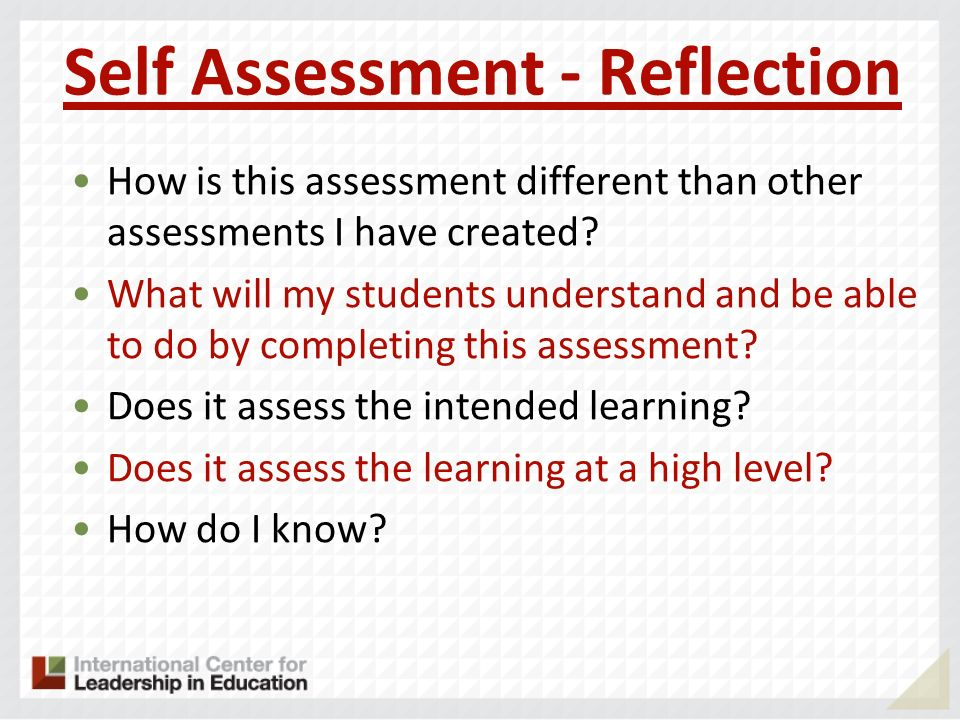 Self Assessment - Reflection