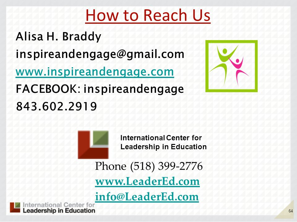 How to Reach Us Alisa H. Braddy   FACEBOOK: inspireandengage
