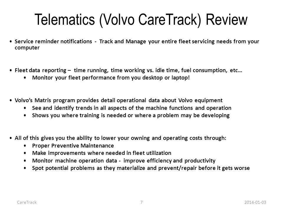 Telematics (Volvo CareTrack) Review