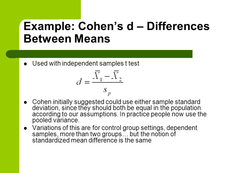 Example: Cohen's d – Differences Between Means