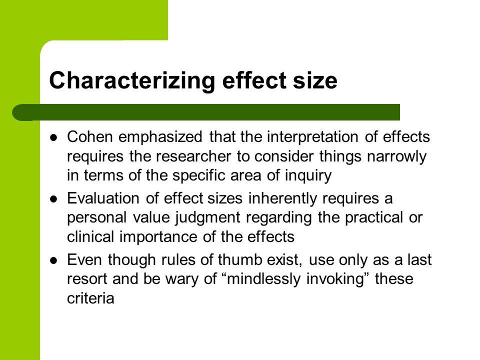 Characterizing effect size