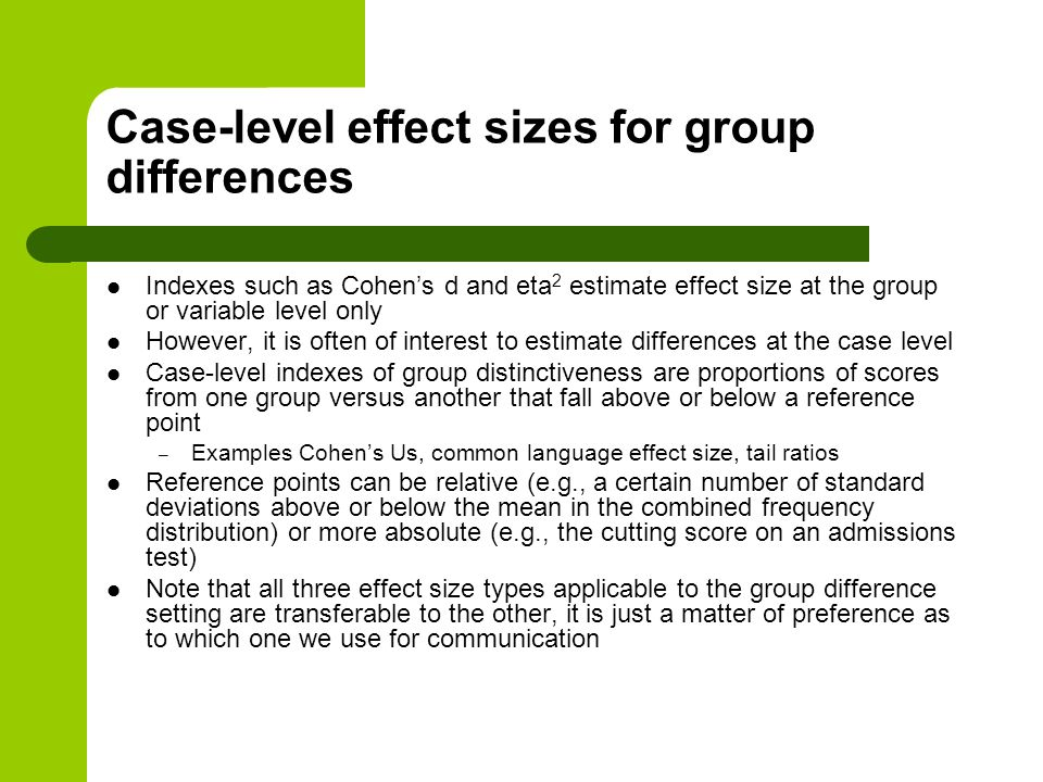 Case-level effect sizes for group differences