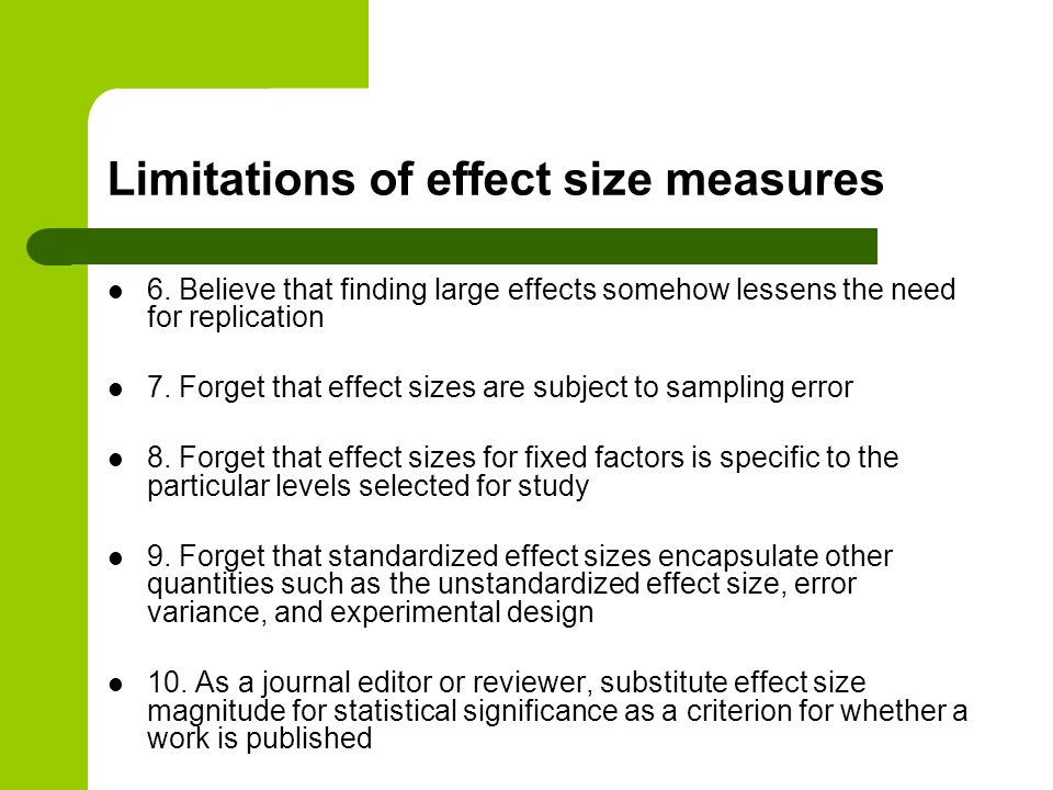 Limitations of effect size measures
