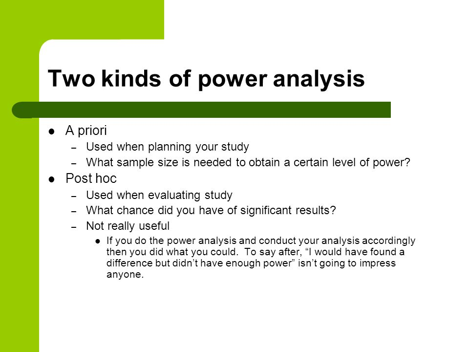 Two kinds of power analysis