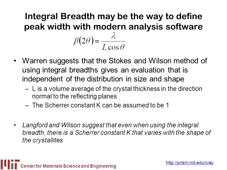 Integral Breadth may be the way to define peak width with modern analysis software