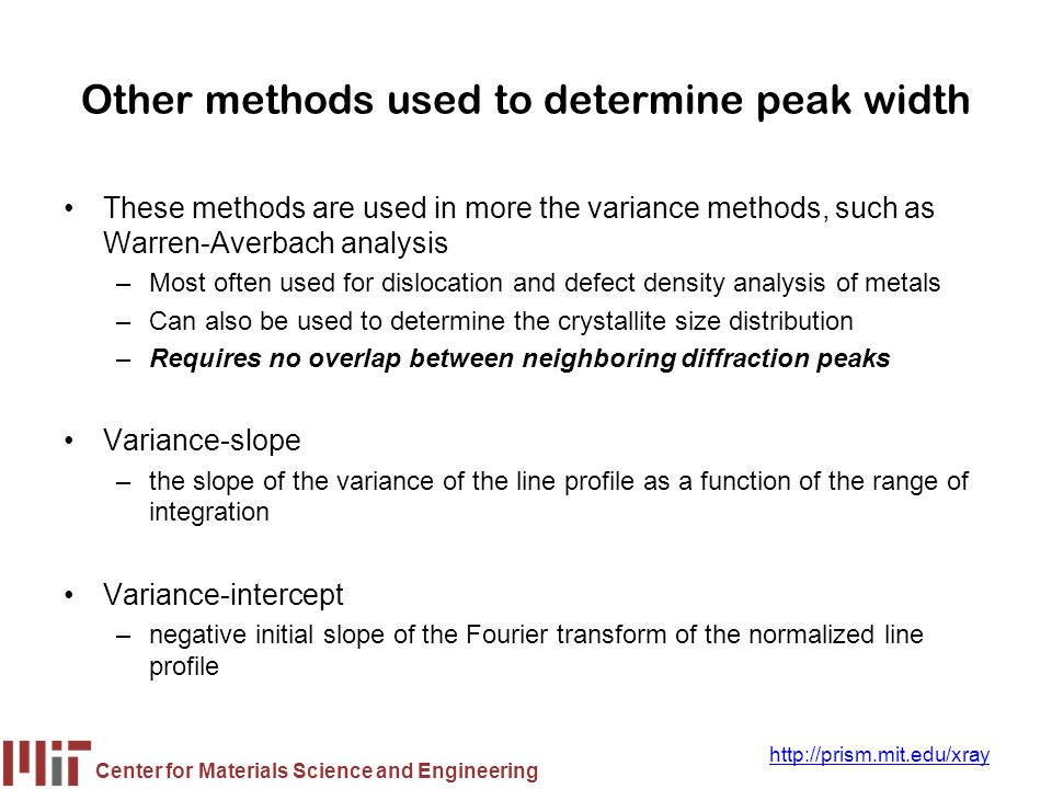Other methods used to determine peak width