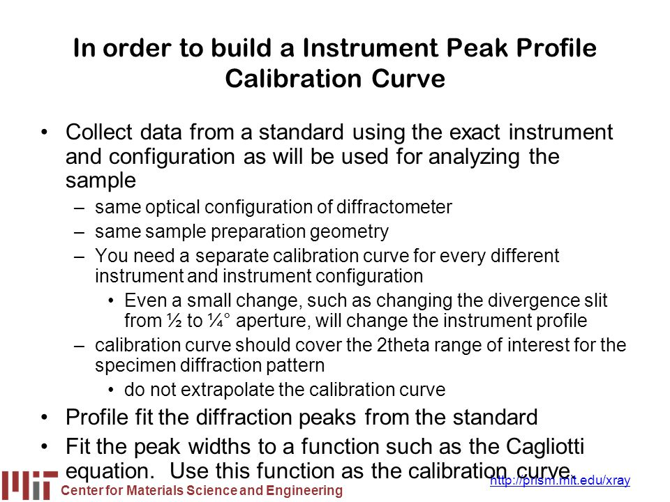 In order to build a Instrument Peak Profile Calibration Curve