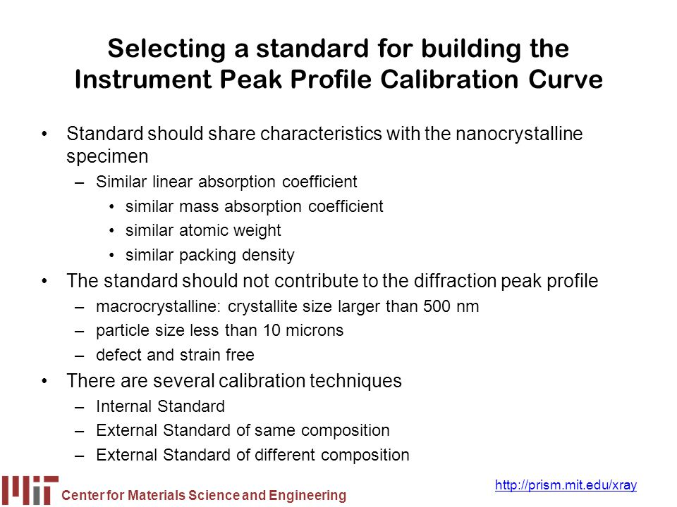 Selecting a standard for building the Instrument Peak Profile Calibration Curve