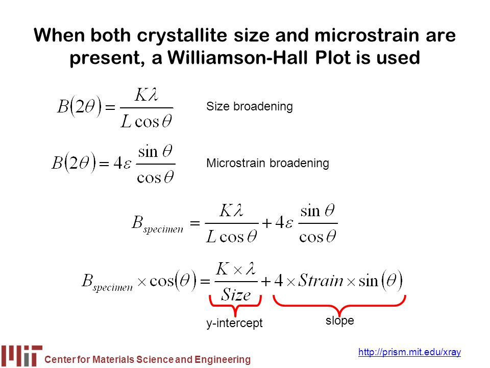 When both crystallite size and microstrain are present, a Williamson-Hall Plot is used