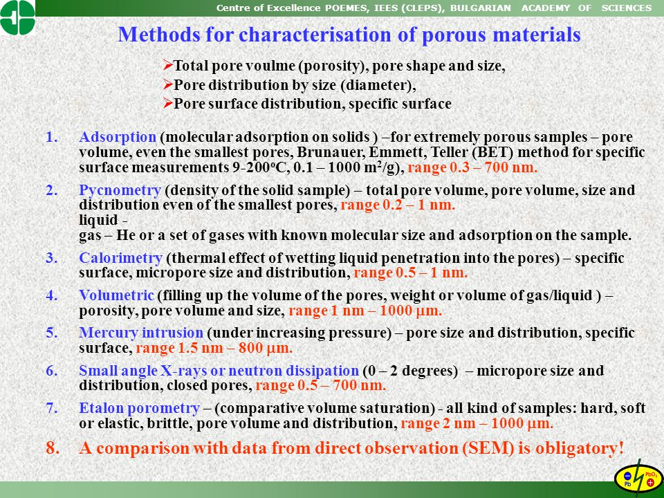 Methods for characterisation of porous materials