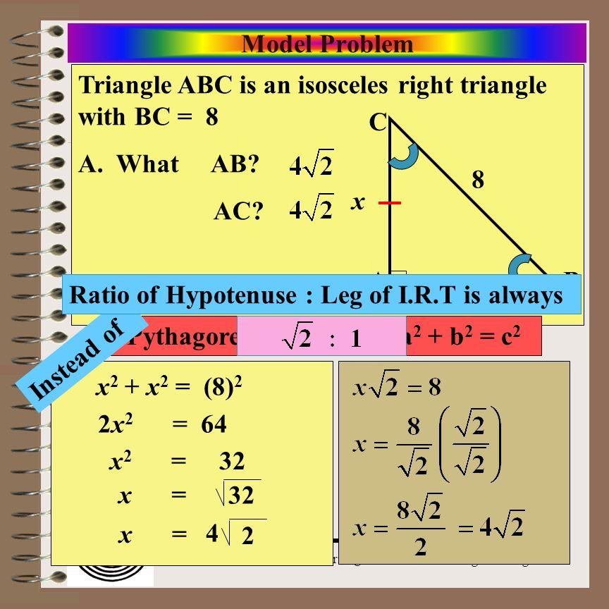 Pythagorean Theorem - a2 + b2 = c2