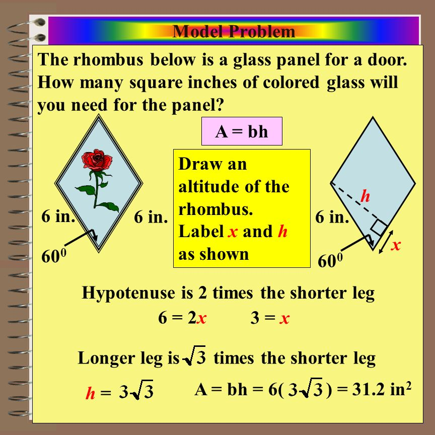 Model Problem The rhombus below is a glass panel for a door. How many square inches of colored glass will you need for the panel