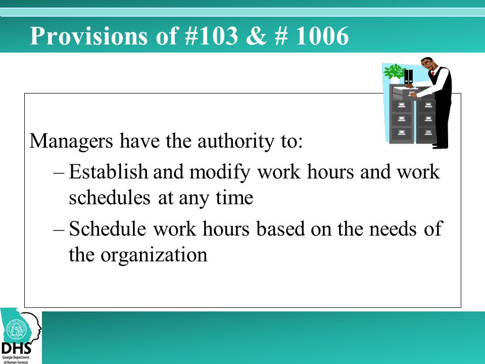 Provisions of #103 & # 1006 Managers have the authority to: