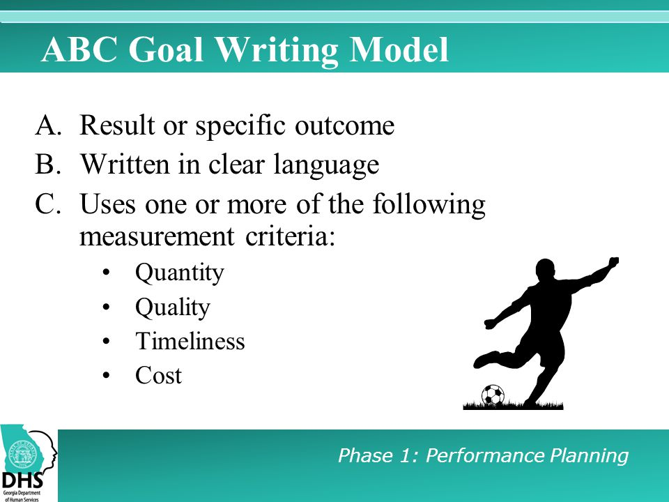 ABC Goal Writing Model Result or specific outcome