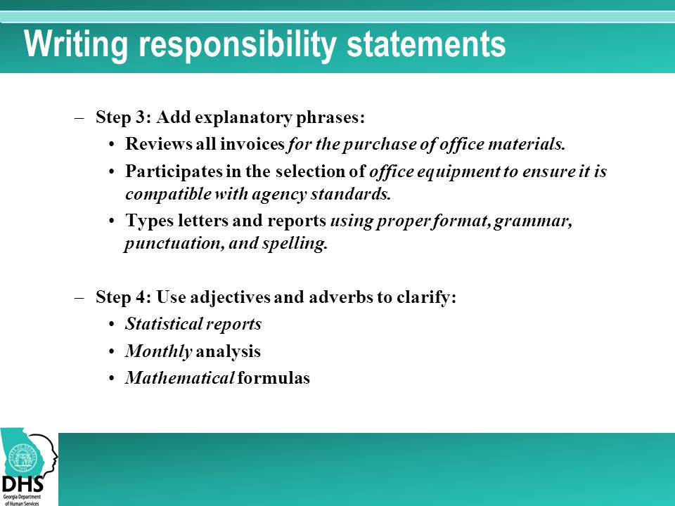 Writing responsibility statements