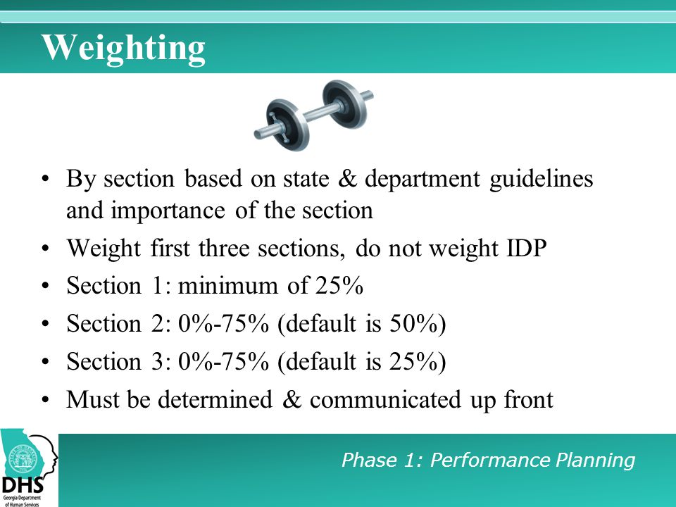 Weighting By section based on state & department guidelines and importance of the section. Weight first three sections, do not weight IDP.